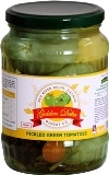 Pickled green tomatoes in glass jars 720ml